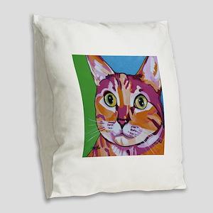 Pippa The Pop Art Kitty Cat Burlap Throw Pillow