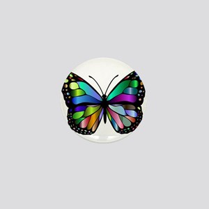 Prismatic Rainbow Winged Butterfly Mini Button
