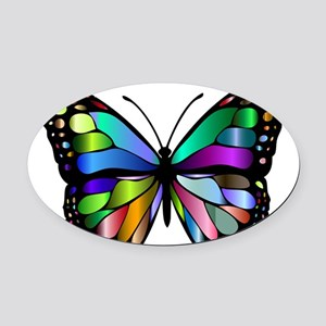 Prismatic Rainbow Winged Butterfly Oval Car Magnet