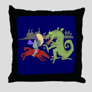 Fighting the Dragon Throw Pillow