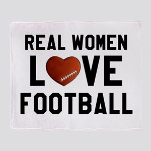 Real Women Love Football Throw Blanket