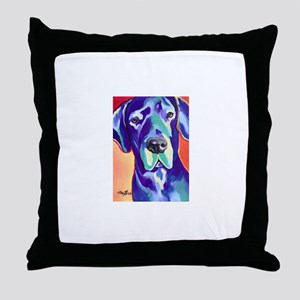Gus The Great Dane with a Black Nose Throw Pillow