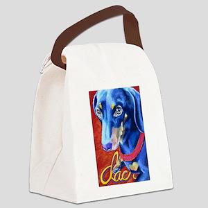 Dachshund Dog Art Portrait Canvas Lunch Bag