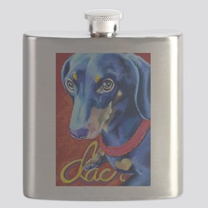 Dachshund Dog Art Portrait Flask