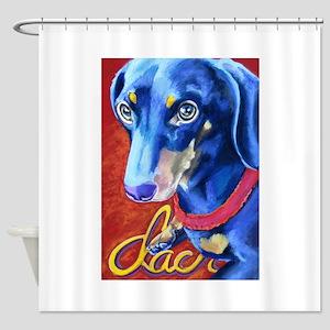 Dachshund Dog Art Portrait Shower Curtain