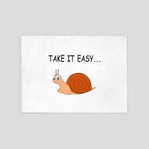 Take It Easy Cute Cartoon Snail 5'x7'Area Rug