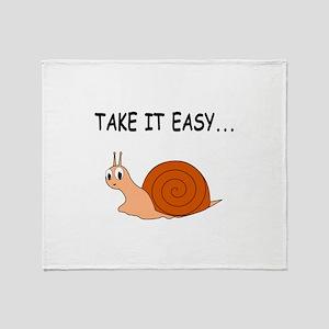 Take It Easy Cute Cartoon Snail Throw Blanket