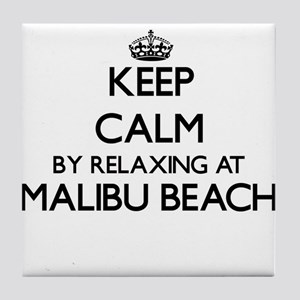 Keep calm by relaxing at Malibu Beach Tile Coaster