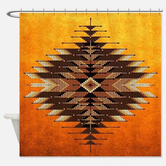 Native Style Orange Sunburst Shower Curtain