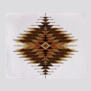 Native Style Orange Sunburst Throw Blanket