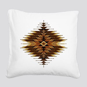 Native Style Orange Sunburst Square Canvas Pillow