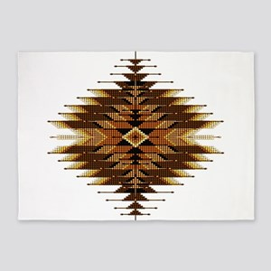 Native Style Orange Sunburst 5'x7'Area Rug