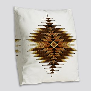 Native Style Orange Sunburst Burlap Throw Pillow