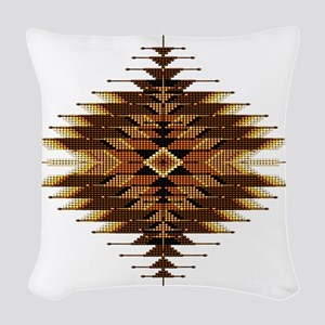 Native Style Orange Sunburst Woven Throw Pillow