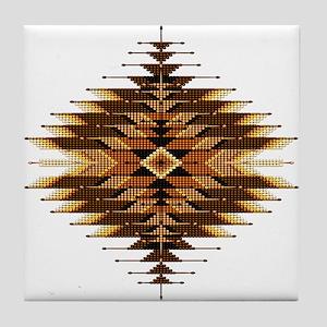 Native Style Orange Sunburst Tile Coaster