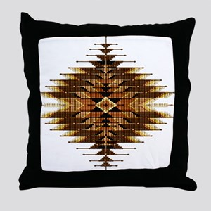 Native Style Orange Sunburst Throw Pillow
