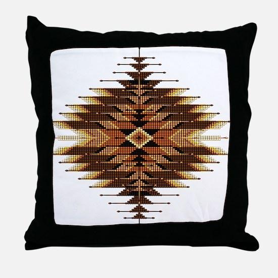 Native Style Orange Sunburst Throw Pillow