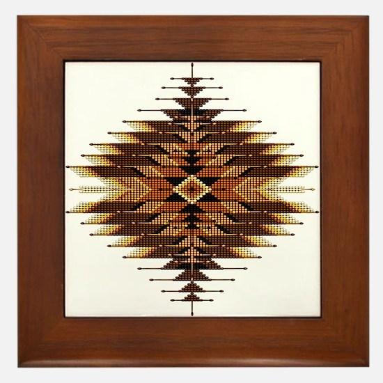 Native Style Orange Sunburst Framed Tile