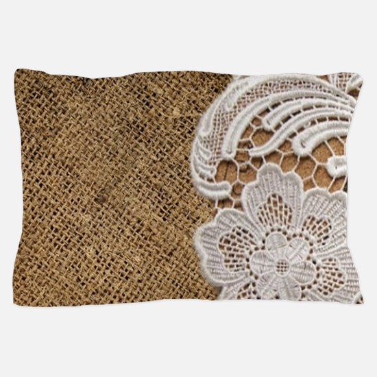 shabby chic burlap lace Pillow Case