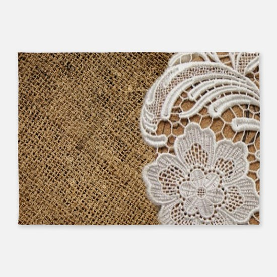 shabby chic burlap lace 5'x7'Area Rug