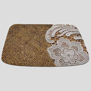 shabby chic burlap lace Bathmat