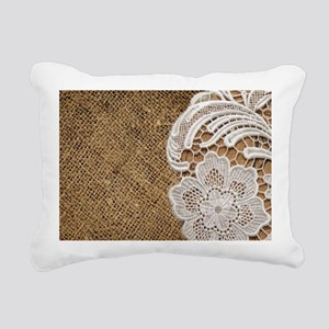 shabby chic burlap lace Rectangular Canvas Pillow