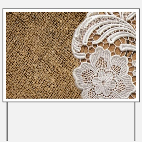 shabby chic burlap lace Yard Sign