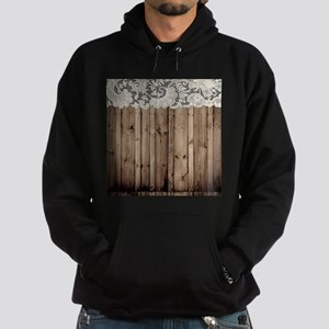 shabby chic lace barn wood Hoodie (dark)