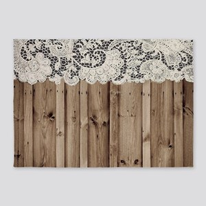 shabby chic lace barn wood 5'x7'Area Rug