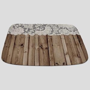 shabby chic lace barn wood Bathmat