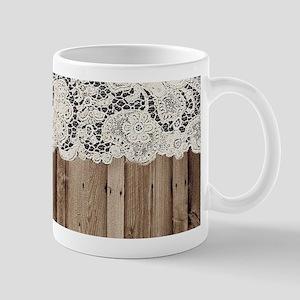 shabby chic lace barn wood Mugs