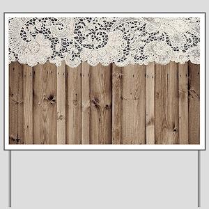 shabby chic lace barn wood Yard Sign