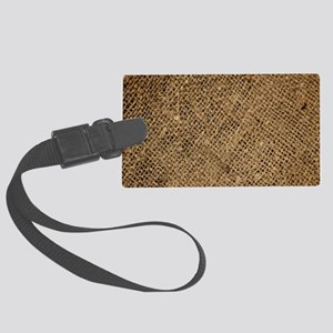 shabby chic country burlap Large Luggage Tag