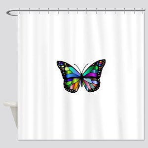 Prismatic Rainbow Winged Butterfly Shower Curtain