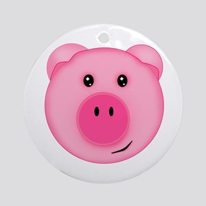 Cute Smiling Pink Country Farm Pig Round Ornament
