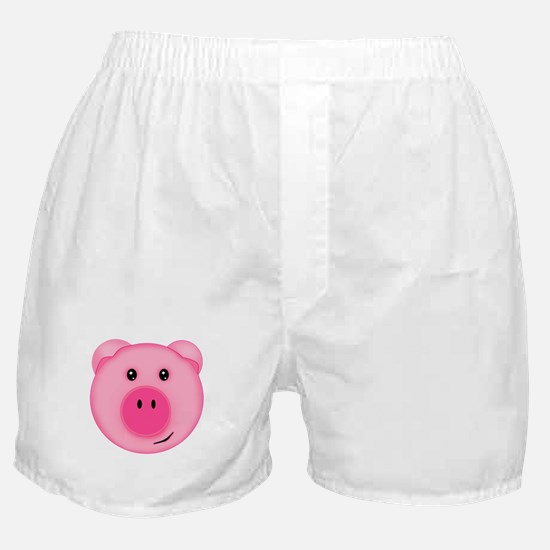 Cute Smiling Pink Country Farm Pig Boxer Shorts