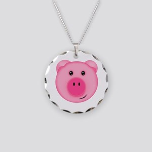 Cute Smiling Pink Country Farm Pig Necklace