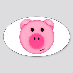 Cute Smiling Pink Country Farm Pig Sticker