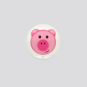 Cute Smiling Pink Country Farm Pig Mini Button