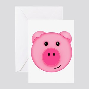 Cute Smiling Pink Country Farm Pig Greeting Cards