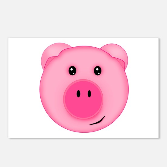 Cute Smiling Pink Country Farm Pig Postcards (Pack