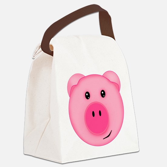 Cute Smiling Pink Country Farm Pig Canvas Lunch Ba