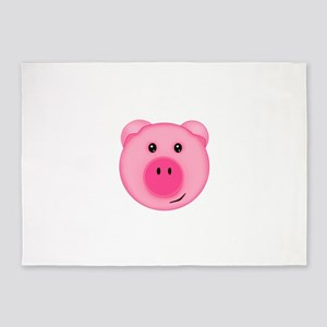 Cute Smiling Pink Country Farm Pig 5'x7'Area Rug