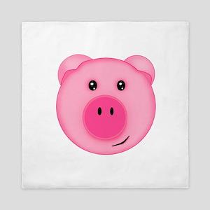 Cute Smiling Pink Country Farm Pig Queen Duvet