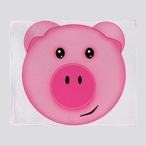 Cute Smiling Pink Country Farm Pig Throw Blanket