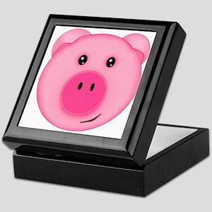 Cute Smiling Pink Country Farm Pig Keepsake Box