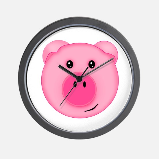 Cute Smiling Pink Country Farm Pig Wall Clock