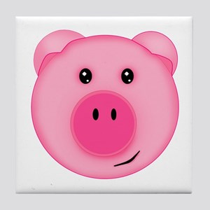 Cute Smiling Pink Country Farm Pig Tile Coaster