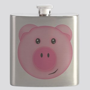 Cute Smiling Pink Country Farm Pig Flask
