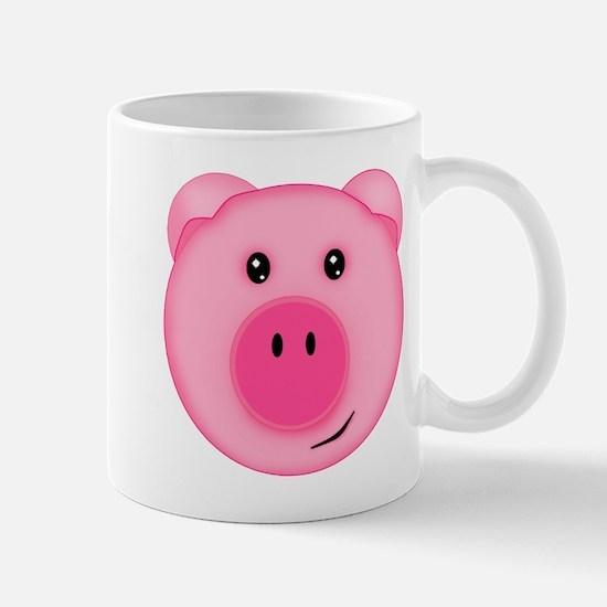 Cute Smiling Pink Country Farm Pig Mugs